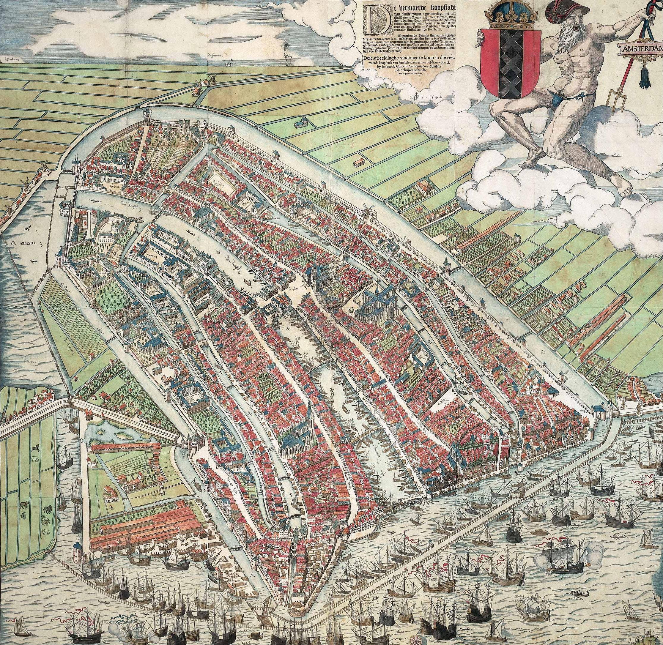 Cornelis Anthonisz. Vogelvluchtkaart van Amsterdam centrum binnenstad